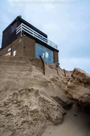 Dune destruction at Hemsby Beach and the threat the lifeboat house following the most recent storm, when a further 4 metres of frontage was lost.