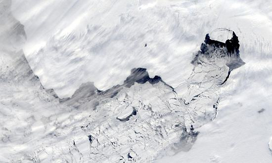 Satellite view of a large iceberg separating from Antarctica's Pine Island Glacier