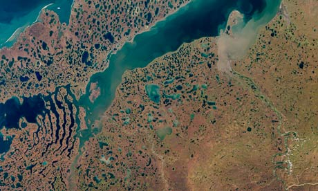 A satellite picture reveals permafrost melting around Liverpool Bay in Canada's north-west territories in the Arctic region.