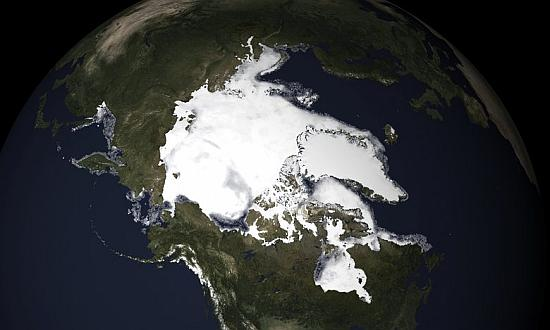 Arctic sea ice melt in May. 'The Arctic sea ice is declining by 13% a decade.' Photograph: NOAA