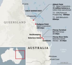Australia's eastern coastline, where a mining boom is underway