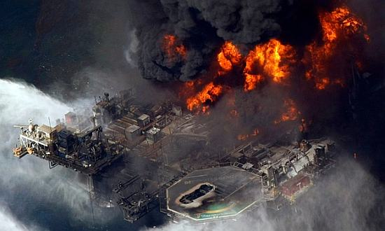 The 2010 disaster at BP's Deepwater Horizon oil rig caused devastating pollution in the Gulf of Mexico.  Photograph: Gerald Herbert/AP