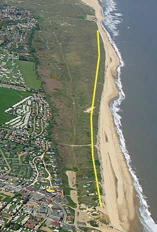 Aerial view of Winterton Coastline