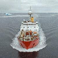 RRS James Clark Ross in the Bellingshausen Sea, west of the Antarctic Peninsula