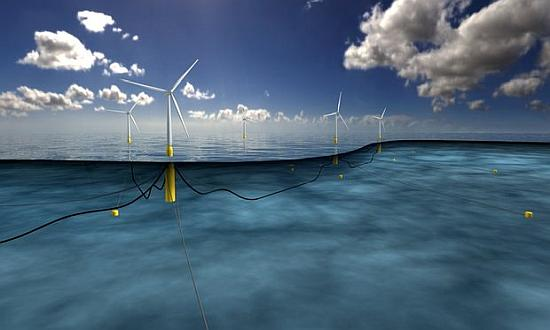 An artist's impression of the world's largest floating windfarm planned off the coast of Scotland. Photograph: Statoil ASA