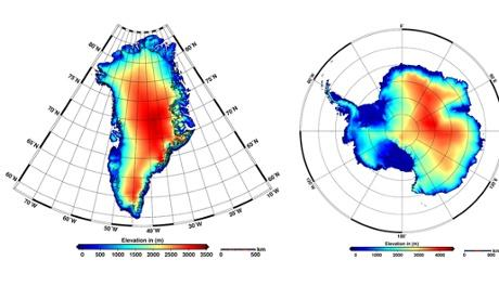 New elevation models of Antarctica and Greenland by ESA's CryoSat satellite