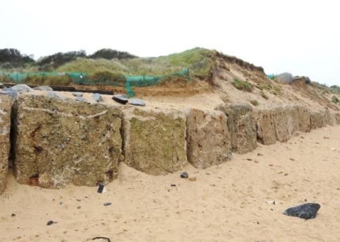 James Bass's picture of the DIY blocks funded, built and placed so far by the Save Hemsby Coastline' group, using money raised by the group themselves'