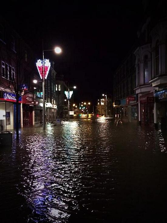 Flooding at Lowestoft High Street where many shops goods were damaged