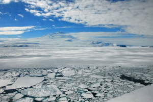 Cool meltwater from the Antarctic ice sheet insulates sea ice from warm ocean currents.