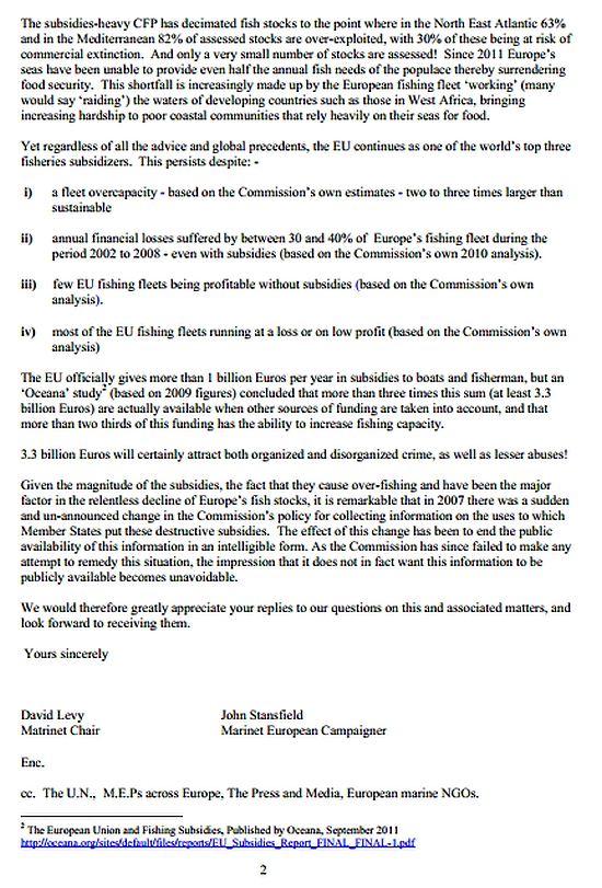 Letter to President of the European Commission regarding fishing subsidies page2
