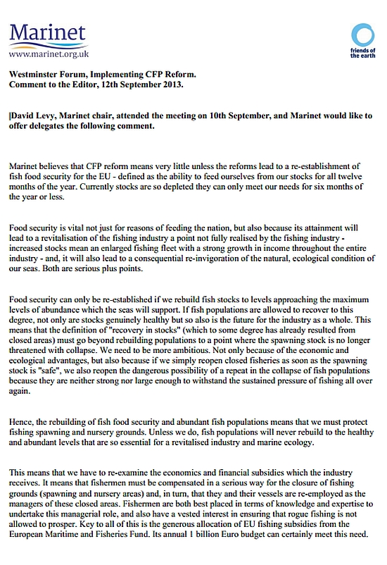 Marinet statement to Westminster P1
