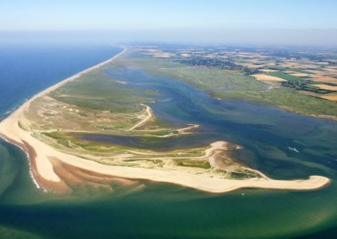 An aerial view of Blakeney Point in North Norfolk.