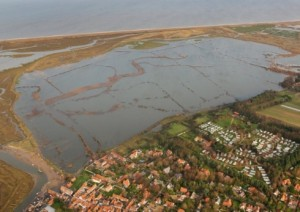 Mike Page's aerial photograph of Blakeney Marsh following the surge