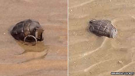 Two grenades found on a beach at Dovercourt in July