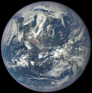 DSCOVR photograph of Earth from one million miles away, Source: NASA/NOAA deep space meteorological satellite, 2015