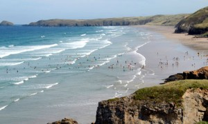 Surfers on Perranport, Cornwall