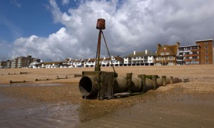 Outlet Pipe on beach at Bexhill on Sea, East Sussex