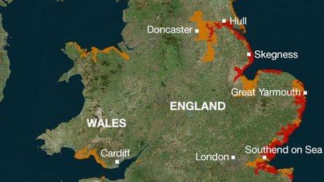 Inundation areas along the Lincolnshire, Norfolk, Suffolk and Essex coastline