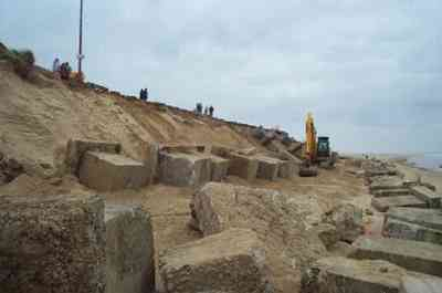 North Norfolk Council recycling the blocks to form dune base defence