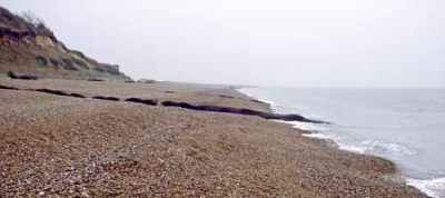 Geotextile tubes at Dunwich seen at Low Tide