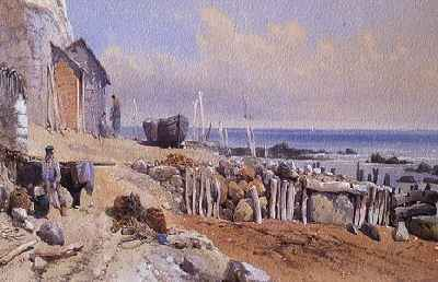 This 1863 oil painting of the beach at Bonchurch on the Isle of Wight by Victorian artist Thomas Lesson Rowbotham, showing how large boulders were used encased by wooden groynes even in those times.