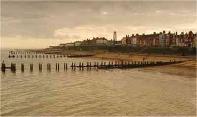 wooden groynes at Southwold, Suffolk