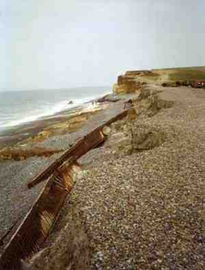The remains of the once powerful steel sea defence system provided at Weybourne, North Norfolk, undermined by beach draw down following dredging and storms.