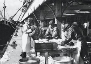 Lumpers sort and grade fish at Lowestoft Fish Market in the 1970s